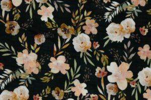 Hydrofiel mousseline stof, dubbeldoek, aquarel bloemenprint, zwart/oranje/bruin W122