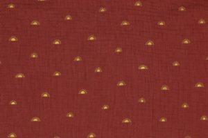 Hydrofiel mousseline stof, dubbeldoek met foliedruk zonnetjes, donker rood. W135