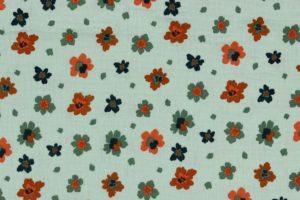Hydrofiel mousseline stof, bloemprint, mint groen/oranje. W136