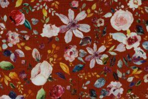 Hydrofiel mousseline stof, dubbeldoek met bloemprint van pioenrozen, roest/roze/blauw/paars. W137