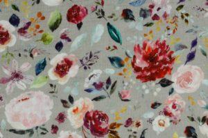 Hydrofiel mousseline stof, dubbeldoek met bloemprint van pioenrozen, taupe/grijs/roze/paars. W140