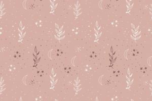 Tricot katoen stof, takjes met sterretjesprint, oud roze/wit/bordeaux. Q5554