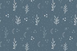 Tricot katoen stof, takjes met sterretjesprint, dusty blauw/wit. Q5555