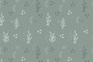 Tricot katoen stof, takjes met sterretjesprint, dusty groen/wit. Q5557