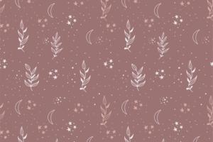 Tricot katoen stof, takjes met sterretjesprint, donker oud roze/wit. Q5558