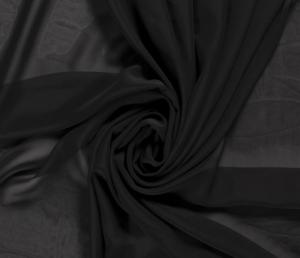 Voile, chiffon stof , zwart. VC069